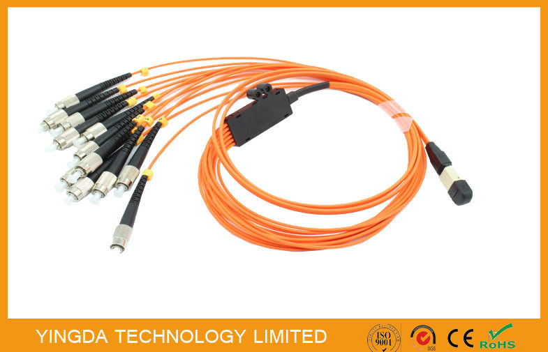 La fibre plate orange de MPO MTP câble OM1 (62,5/125um), corde de correction optique de fibre de sortance de FC fournisseur