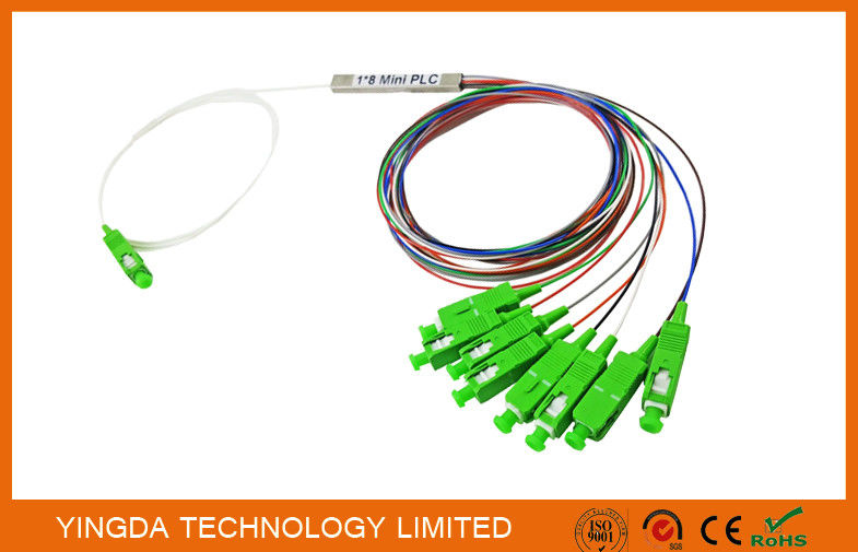 1x8 SC/APC Single mode OS2 9/125 Fiber Optic PLC Splitter FTTH Splitter